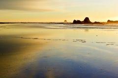 Goldener Sonnenuntergang auf Pazifikküste Stockfotos