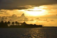 Goldener Sonnenuntergang Malediven Stockbilder