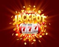 Goldener Spielautomat gewinnt den Jackpot lizenzfreie abbildung