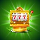 Goldener Spielautomat gewinnt den Jackpot Auf grünem Hintergrund Auch im corel abgehobenen Betrag vektor abbildung