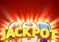 Goldener Spielautomat gewinnt den Jackpot Großes Gewinnkonzept Kasinojackpot lizenzfreie abbildung