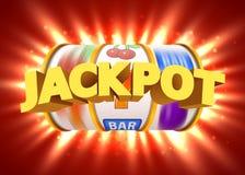 Goldener Spielautomat gewinnt den Jackpot Großes Gewinnkonzept Kasinojackpot stock abbildung