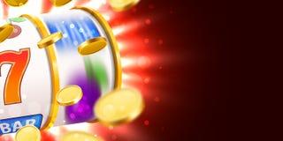 Goldener Spielautomat mit dem Fliegen von goldenen Münzen gewinnt den Jackpot Großes Gewinnkonzept lizenzfreie abbildung