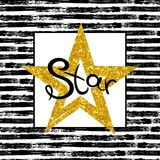 Goldener Stern auf gestreiftem Hintergrund Lizenzfreies Stockbild