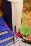 Goldener Stift und alte Bücher Lizenzfreie Stockbilder