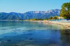 Goldener Strand in Skala Potamia, Thassos lizenzfreies stockfoto