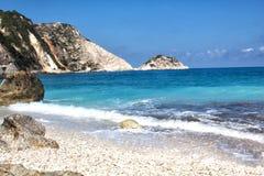 Goldener Strand XI in der kefalonia Insel in Griechenland Stockfotografie