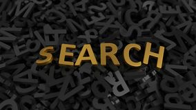 Goldener ` Suche-` Text auf Stapel Buchstaben Abbildung 3D Stockfoto