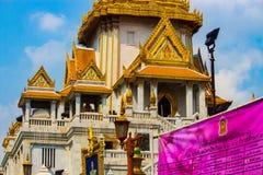 Goldener Tempel Tempel im Bangkok-Nahaufnahmeschuß stockfotografie