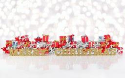 Goldener Text der frohen Weihnachten und silberne und rote Geschenke Lizenzfreies Stockfoto