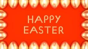 Goldener Text fröhliche Ostern mit einem Rahmen von Eiern auf hellem Hintergrund schlang Animation 3D stock abbildung