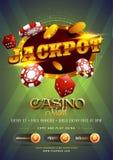 Goldener Text Jackpot mit 3D Chip, Münzen, auf glänzendem grünem backgrou Stockfotografie