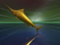 goldener Traumspeerfisch der Fantasie 3d Lizenzfreie Stockfotos
