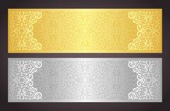 Goldener und silberner LuxusGutschein im vinta Stockbild
