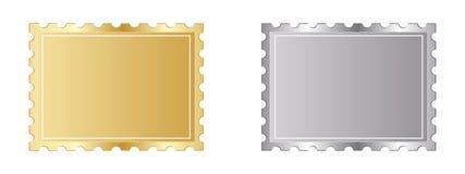 Goldener und silberner Stempel Stockfotografie