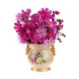 Goldener Vase mit Blumen Lizenzfreies Stockfoto