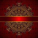 Goldener Vektor der roten Karte des Medaillons Stockfoto