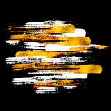 Goldener Vektor malte Formmuster, Hand gezeichnete Aquarellbürste Stockfotografie