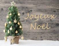 Goldener verzierter Baum, Joyeux Noel Means Merry Christmas lizenzfreies stockbild