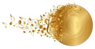 Goldener Vinylsatz mit Anmerkungen stock abbildung