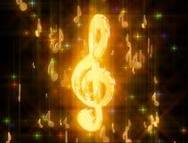 Goldener Violinschlüssel, umgeben durch musikalische Zeichen stockbilder