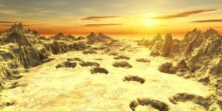 Goldener Wüstensonnenuntergang Stockbild