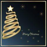 Goldener Weihnachtsbaum auf schwarzem Hintergrund Stockfoto