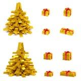 Goldener Weihnachtsbaum und Geschenkboxen Stockfoto