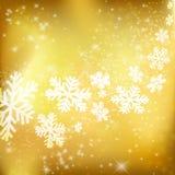 Goldener Weihnachtshintergrund. Abstrakte Winterauslegung mit Sternen und Sn Lizenzfreie Stockfotografie