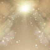 Goldener Weihnachtshintergrund Abstrakter Hintergrund des Feiertags Unscharfes Bokeh Stockbild