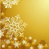 Goldener Weihnachtsschneeflockehintergrund lizenzfreie abbildung