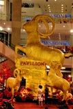 Goldener Ziegenstatus in Pavillon-Kuala Lumpur Malaysia The-Jahr von Ziege 2015 lizenzfreie stockfotos