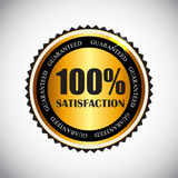 Goldener Zufriedenheits-Vektor des Aufkleber-100% Lizenzfreie Stockfotografie