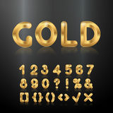 Goldenes Alphabet Satz metallische Zahlen 3d Stockbilder