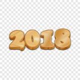 Goldenes 2018 Artvektorzeichen des neuen Jahres 3d Lizenzfreie Stockbilder