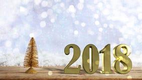 Goldenes 2018 auf einer Holzoberfläche, Weihnachtenschneebedeckter bokeh Hintergrund Stockbild