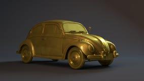 Goldenes Auto 3D Stockfoto