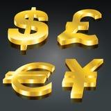 Goldenes Bargeld-Set Stockfotografie