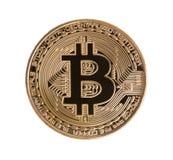 Goldenes Bitcoin auf lokalisiertem weißem Hintergrund Über Weiß fina Lizenzfreie Stockbilder