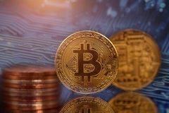 Goldenes Bitcoin Cryptocurrency stockfoto