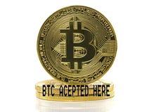 Goldenes Bitcoin hier angenommen lizenzfreies stockbild