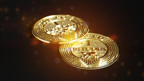 Goldenes Bitcoin Linsenverzerrung und chromatischer Effekt 3D Makro r Stockbilder