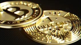 Goldenes Bitcoin Linsenverzerrung und chromatischer Effekt 3D Makro r Stockbild