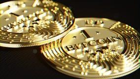 Goldenes Bitcoin Linsenverzerrung und chromatischer Effekt 3D Makro r Stockfoto