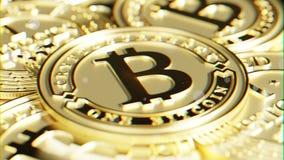 Goldenes Bitcoin Linsenverzerrung und chromatischer Effekt 3D Makro r Lizenzfreie Stockfotos