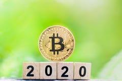 Goldenes bitcoin und Holzklotzzahljahr 2020 auf Grünnaturhintergrund mit Kopienraum lizenzfreie stockfotografie