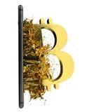Goldenes Bitcoin Weg eingeschlossen Vervollkommnen Sie für Lizenzfreie Stockfotos