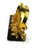 Goldenes Bitcoin Weg eingeschlossen Vervollkommnen Sie für Lizenzfreies Stockbild