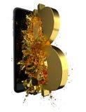 Goldenes Bitcoin Weg eingeschlossen Vervollkommnen Sie für Lizenzfreie Stockbilder