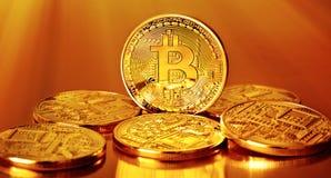 Goldenes Bitcoins Stockfoto